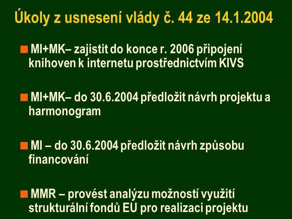 Úkoly z usnesení vlády č. 44 ze 14.1.2004  MI+MK– zajistit do konce r. 2006 připojení knihoven k internetu prostřednictvím KIVS  MI+MK– do 30.6.2004