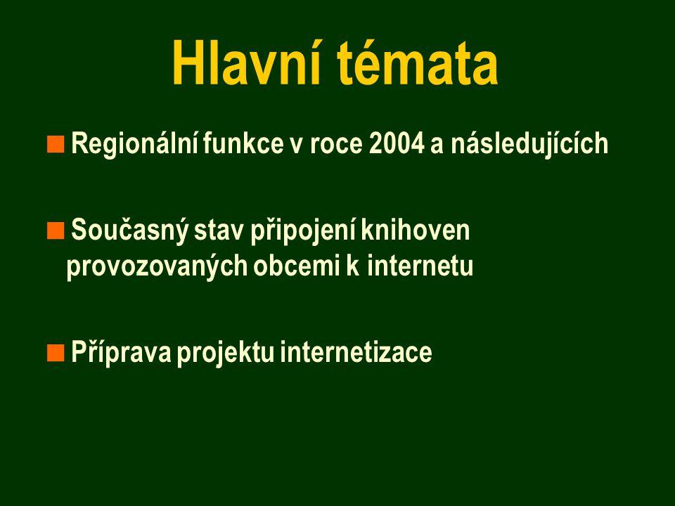 Hlavní témata  Regionální funkce v roce 2004 a následujících  Současný stav připojení knihoven provozovaných obcemi k internetu  Příprava projektu internetizace