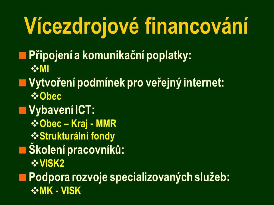Vícezdrojové financování  Připojení a komunikační poplatky:  MI  Vytvoření podmínek pro veřejný internet:  Obec  Vybavení ICT:  Obec – Kraj - MMR  Strukturální fondy  Školení pracovníků:  VISK2  Podpora rozvoje specializovaných služeb:  MK - VISK