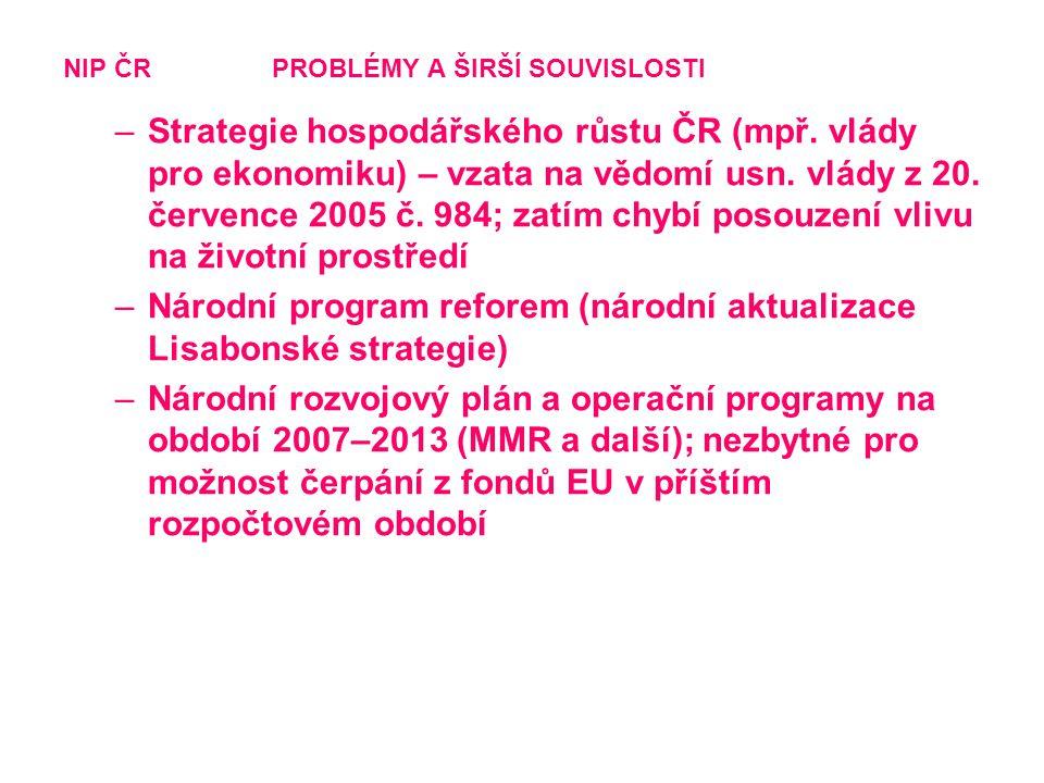 NIP ČRPROBLÉMY A ŠIRŠÍ SOUVISLOSTI –Strategie hospodářského růstu ČR (mpř. vlády pro ekonomiku) – vzata na vědomí usn. vlády z 20. července 2005 č. 98