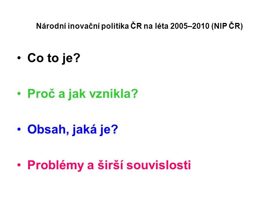 Národní inovační politika ČR na léta 2005–2010 (NIP ČR) Co to je? Proč a jak vznikla? Obsah, jaká je? Problémy a širší souvislosti