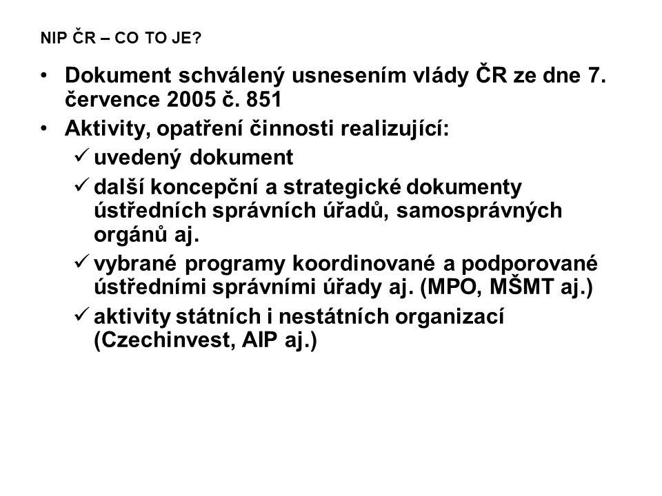 NIP ČR – CO TO JE? Dokument schválený usnesením vlády ČR ze dne 7. července 2005 č. 851 Aktivity, opatření činnosti realizující: uvedený dokument dalš