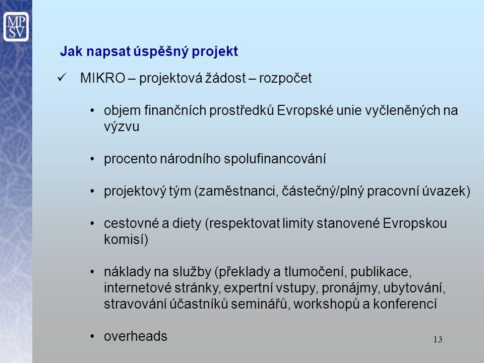 12 Jak napsat úspěšný projekt MIKRO – projektová žádost – obsah soulad s evropskými, národními, regionálními a popřípadě místními strategiemi obsah projektu musí být v souladu s požadavky výzvy Evropské komise uvést předchozí zkušenosti se zpracováním projektů či s účastí na jiných projektech (např.