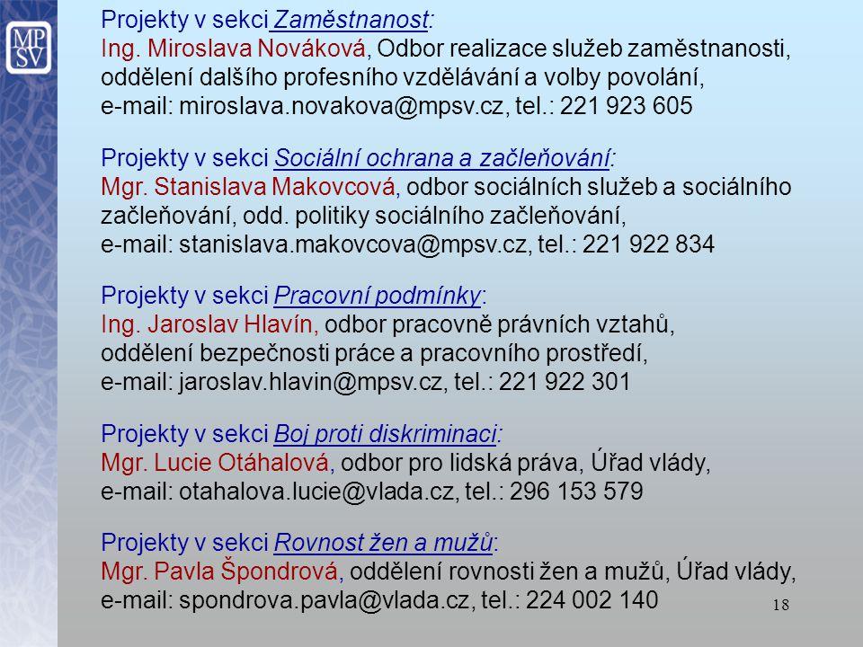 17 Kontaktní osoby KONZULTACE A METODICKÁ POMOC: Ing.