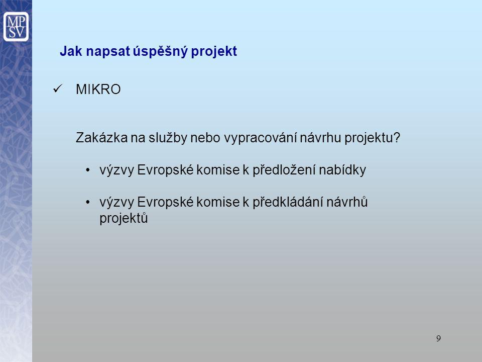 8 Jak napsat úspěšný projekt MEZO samostatný předkladatel (kapacita, komunikace) partner konsorcium výběr zahraničních partnerů s podporou MPSV - kontaktní osoby z MPSV a Úřadu vlády - QeC – ERAN: www.qec-eran.org - ESIP: www.esip-platform.net