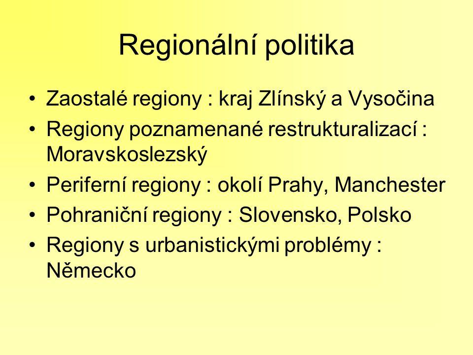 Regionální politika Zaostalé regiony : kraj Zlínský a Vysočina Regiony poznamenané restrukturalizací : Moravskoslezský Periferní regiony : okolí Prahy