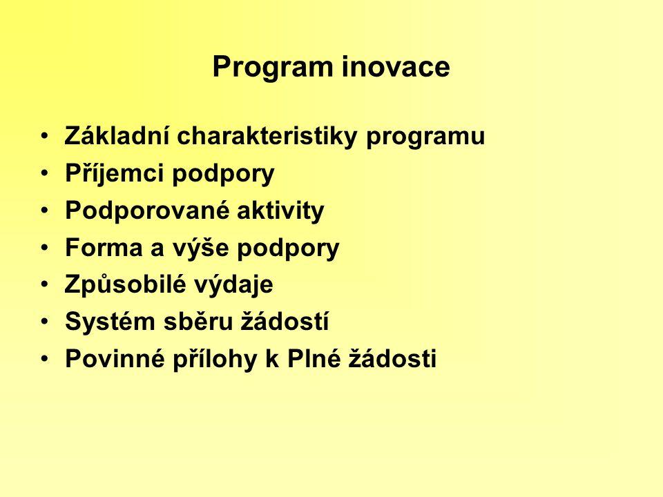 Program inovace Základní charakteristiky programu Příjemci podpory Podporované aktivity Forma a výše podpory Způsobilé výdaje Systém sběru žádostí Pov