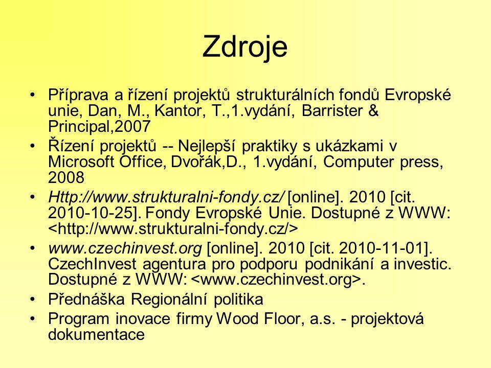 Zdroje Příprava a řízení projektů strukturálních fondů Evropské unie, Dan, M., Kantor, T.,1.vydání, Barrister & Principal,2007 Řízení projektů -- Nejl