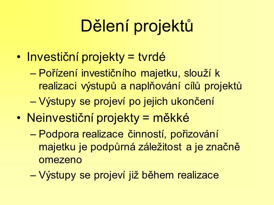 Dělení projektů Investiční projekty = tvrdé –Pořízení investičního majetku, slouží k realizaci výstupů a naplňování cílů projektů –Výstupy se projeví