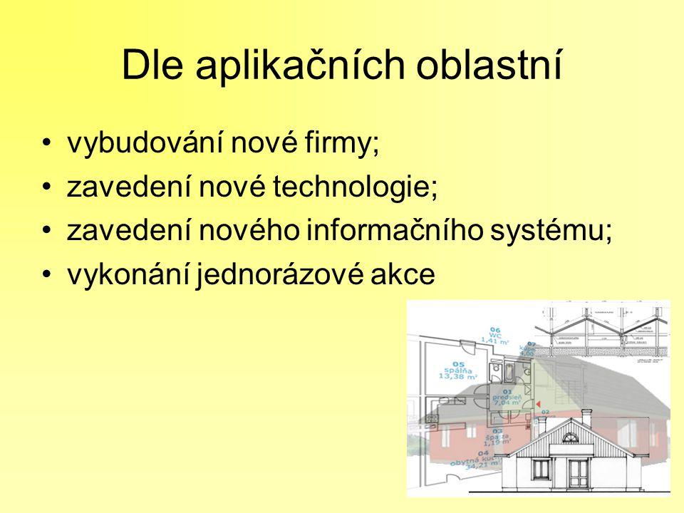 Dle aplikačních oblastní vybudování nové firmy; zavedení nové technologie; zavedení nového informačního systému; vykonání jednorázové akce