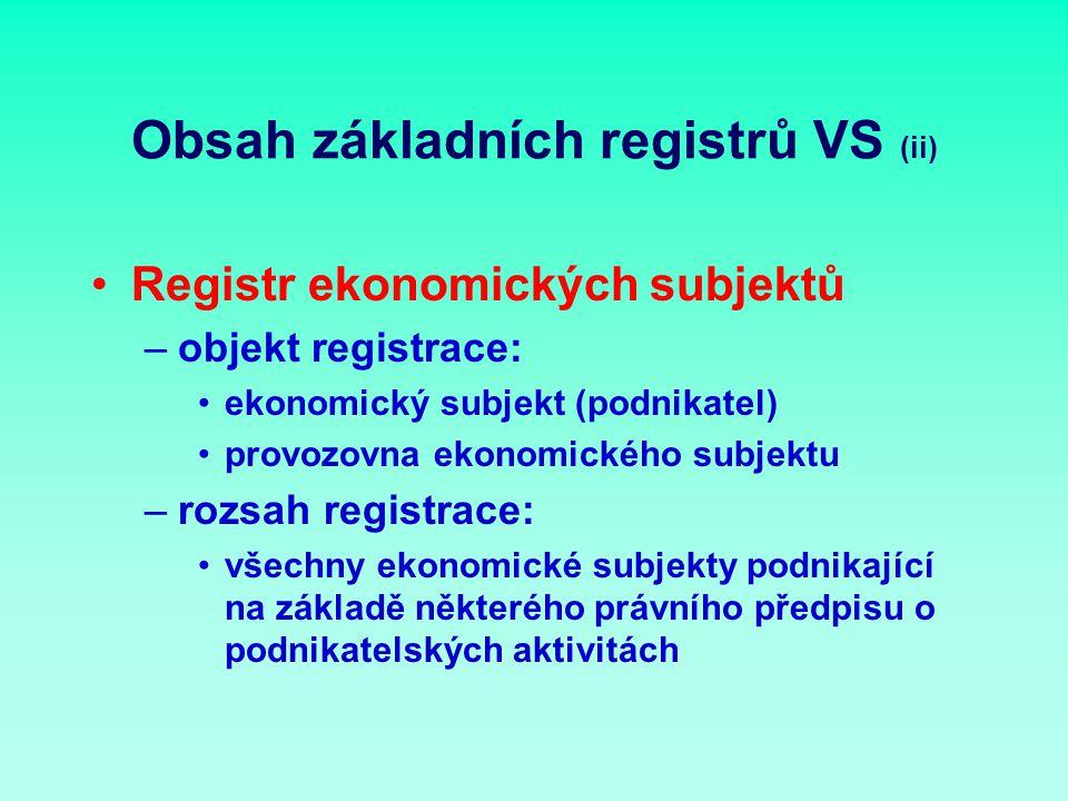 Obsah základních registrů VS (ii) Registr ekonomických subjektů –objekt registrace: ekonomický subjekt (podnikatel) provozovna ekonomického subjektu –rozsah registrace: všechny ekonomické subjekty podnikající na základě některého právního předpisu o podnikatelských aktivitách
