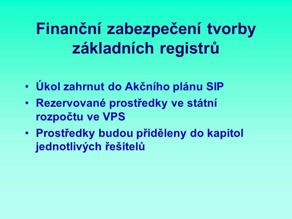 Finanční zabezpečení tvorby základních registrů Úkol zahrnut do Akčního plánu SIP Rezervované prostředky ve státní rozpočtu ve VPS Prostředky budou přiděleny do kapitol jednotlivých řešitelů