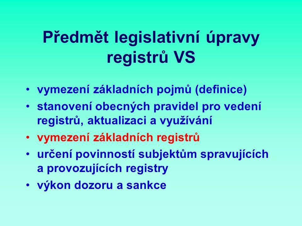 Předmět legislativní úpravy registrů VS vymezení základních pojmů (definice) stanovení obecných pravidel pro vedení registrů, aktualizaci a využívání vymezení základních registrů určení povinností subjektům spravujících a provozujících registry výkon dozoru a sankce