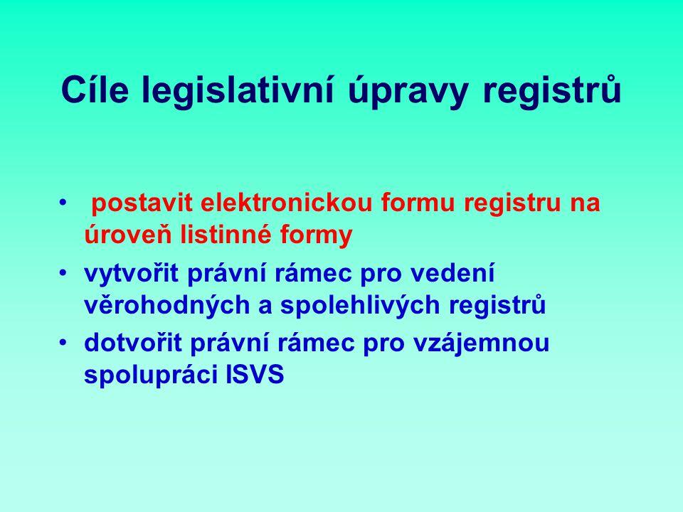 Cíle legislativní úpravy registrů postavit elektronickou formu registru na úroveň listinné formy vytvořit právní rámec pro vedení věrohodných a spolehlivých registrů dotvořit právní rámec pro vzájemnou spolupráci ISVS