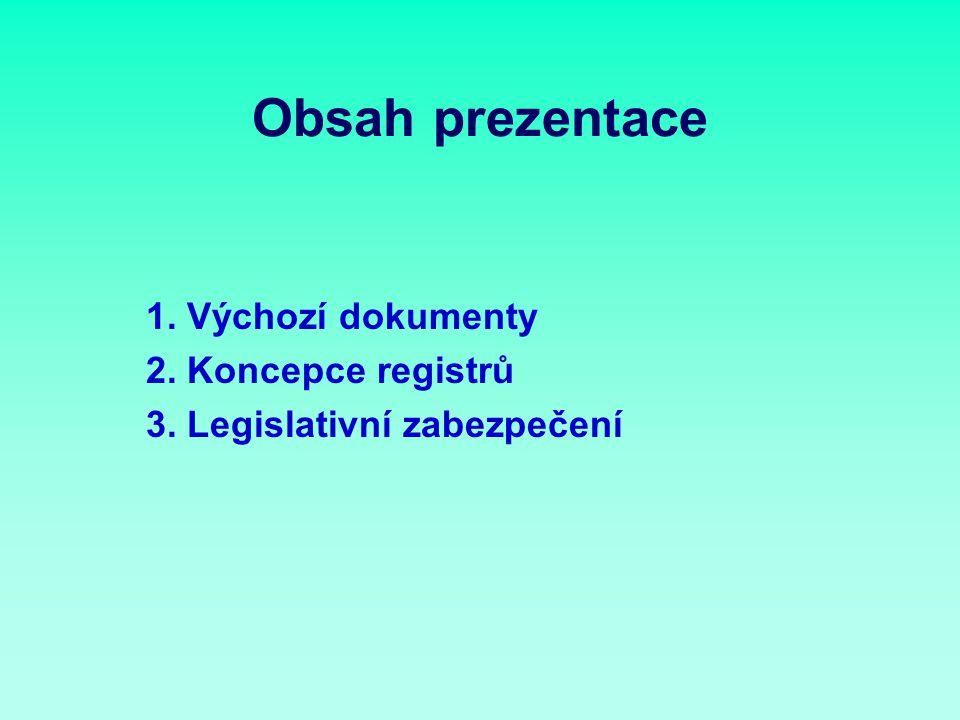 Obsah prezentace 1. Výchozí dokumenty 2. Koncepce registrů 3. Legislativní zabezpečení