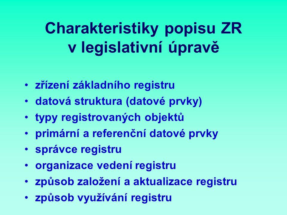 Charakteristiky popisu ZR v legislativní úpravě zřízení základního registru datová struktura (datové prvky) typy registrovaných objektů primární a referenční datové prvky správce registru organizace vedení registru způsob založení a aktualizace registru způsob využívání registru