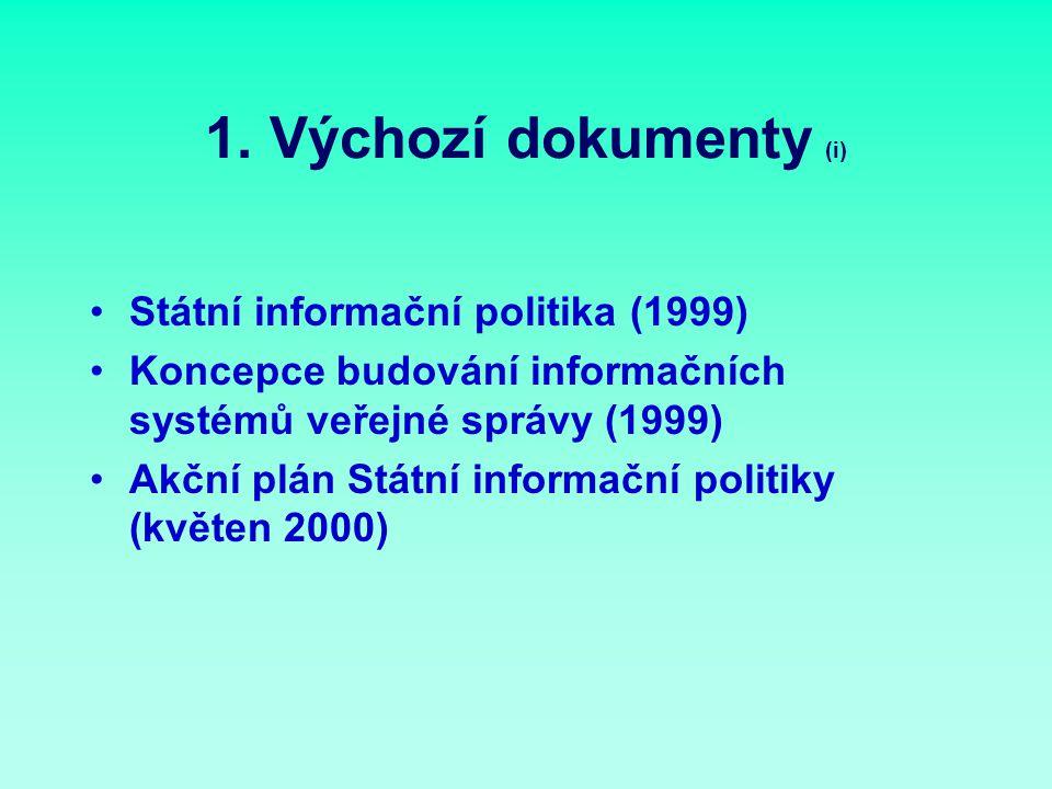 1. Výchozí dokumenty (i) Státní informační politika (1999) Koncepce budování informačních systémů veřejné správy (1999) Akční plán Státní informační p