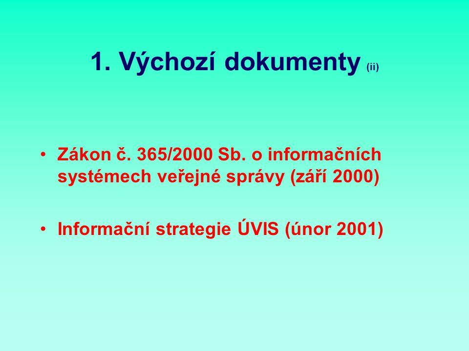 1. Výchozí dokumenty (ii) Zákon č. 365/2000 Sb.