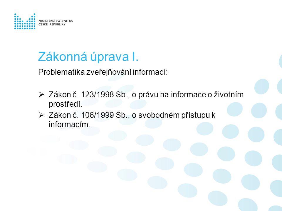 Zákonná úprava I. Problematika zveřejňování informací:  Zákon č.