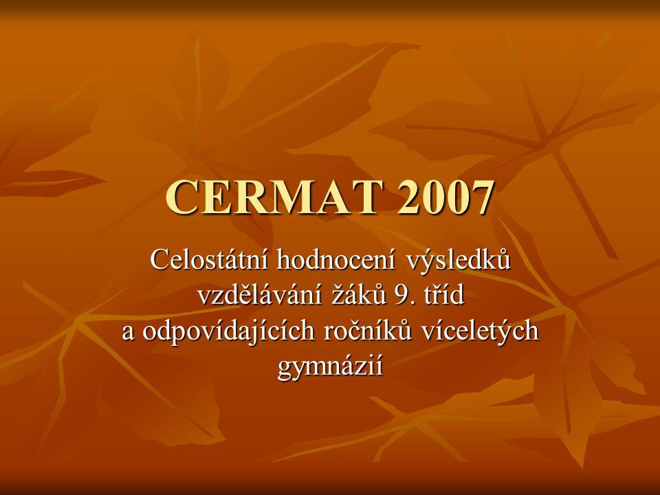 CERMAT 2007 Jednotné testování proběhlo dne 1.února 2007 Jednotné testování proběhlo dne 1.února 2007 Celkem se testování zúčastnilo 58816 žáků 9.tříd (kvart) z 1587 škol z celé republiky Celkem se testování zúčastnilo 58816 žáků 9.tříd (kvart) z 1587 škol z celé republiky Žáci absolvovali 3 testy: - dovednosti v českém jazyce - matematické dovednosti - obecné dovednosti Žáci absolvovali 3 testy: - dovednosti v českém jazyce - matematické dovednosti - obecné dovednosti Naši žáci opět uspěli velice dobře Naši žáci opět uspěli velice dobře