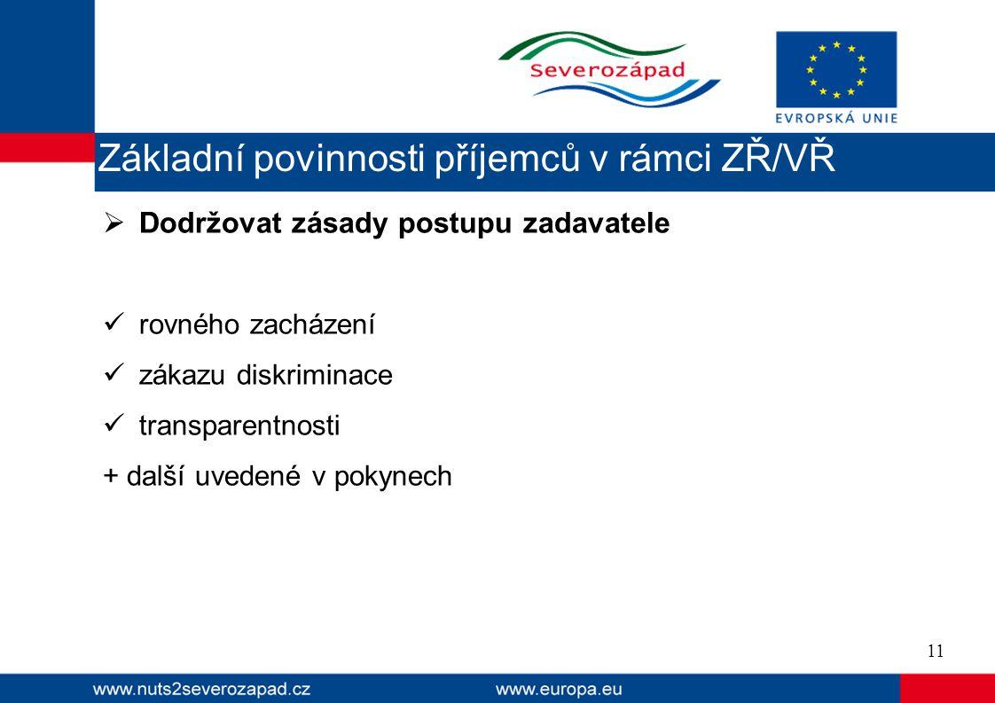  Dodržovat zásady postupu zadavatele rovného zacházení zákazu diskriminace transparentnosti + další uvedené v pokynech 11 Základní povinnosti příjemců v rámci ZŘ/VŘ