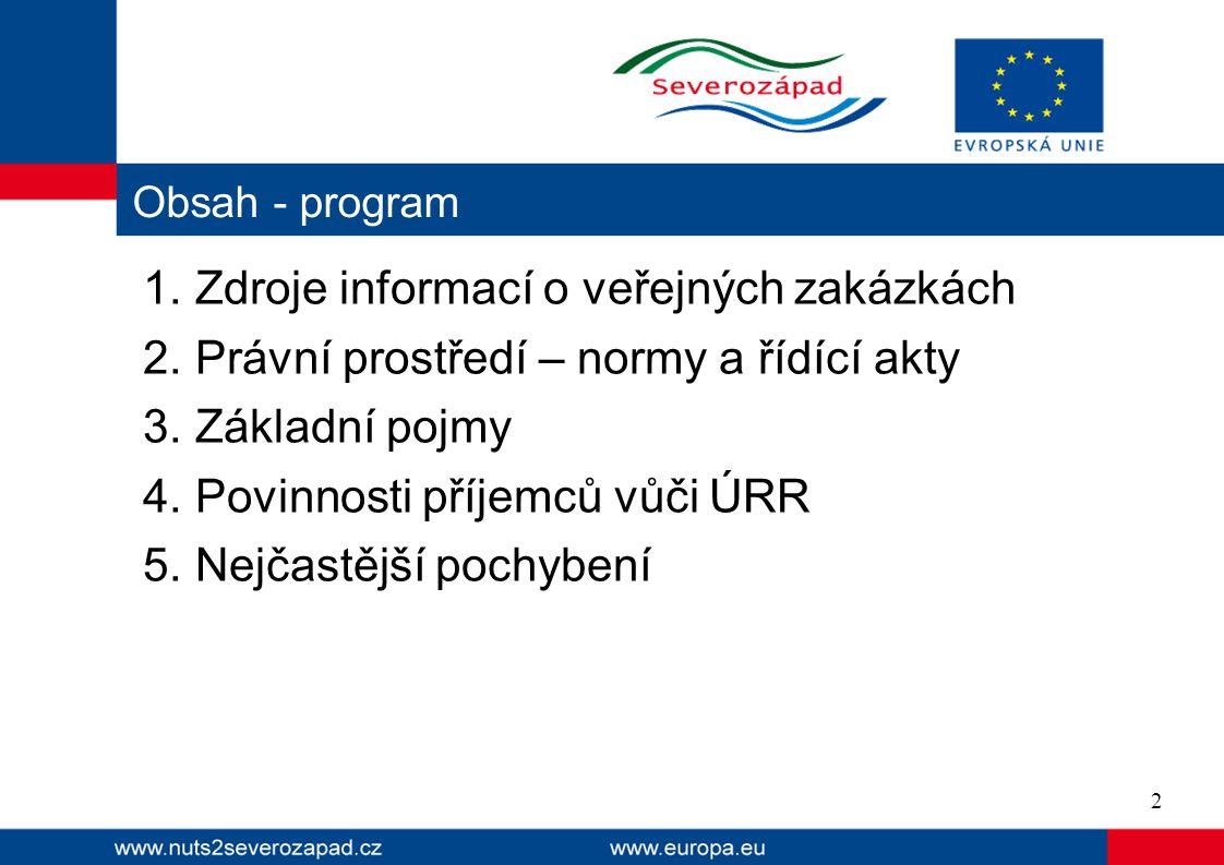  Sbírka zákonů http://aplikace.mvcr.cz/sbirka-zakonu  Ministerstvo pro místní rozvoj hhttp://www.mmr.cz/Verejne-zakazky-a-PPP http://www.portal-vz.cz (metodiky, stanoviska, otázky a odpovědi)  Úřad pro ochranu hospodářské soutěže http://www.uohs.cz/cs/verejne-zakazky.html (stanoviska, rozhodnutí)  Věstník veřejných zakázek http://www.vestnikverejnychzakazek.cz/ Zdroje informací o veřejných zakázkách 3