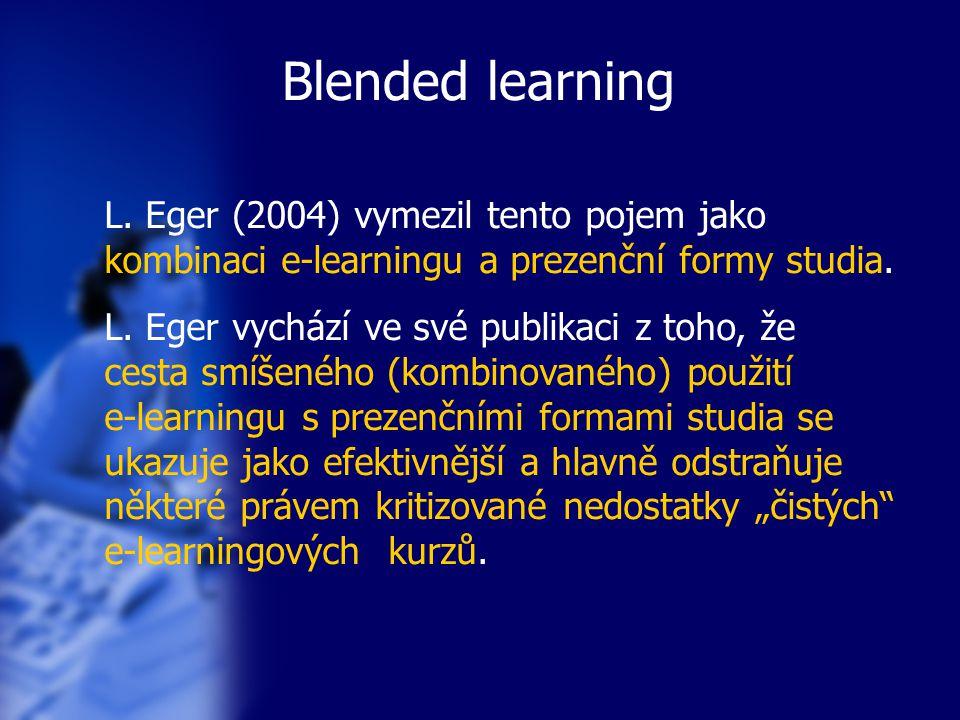 """Blended learning Theo Bastiens, Jo Boon a Rob Martens uvádějí v knize, která vznikla jako sbírka příspěvků mnoha autorů pod názvem Integrated E-learning (2004): """"More and more aspects of formal classroom training and e-learning have become merged into hybrid learning environments which contain a combination of face-to-face and Web- based formats, often referred to as 'blended learning'. V překladu by se to dalo vyjádřit: stále více prvků prezenční výuky ve třídě a e-learningu se slučuje do smíšeného vzdělávání, které obsahuje kombinaci jak prezenční formy, tak vzdělávání se přes web, které se uvádí jako """"blended learning ."""