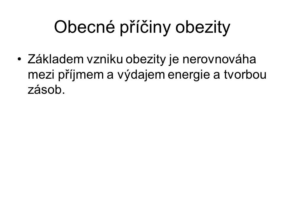 Obecné příčiny obezity Základem vzniku obezity je nerovnováha mezi příjmem a výdajem energie a tvorbou zásob.