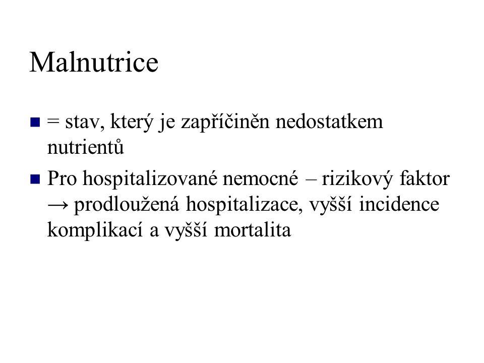 Malnutrice = stav, který je zapříčiněn nedostatkem nutrientů Pro hospitalizované nemocné – rizikový faktor → prodloužená hospitalizace, vyšší incidence komplikací a vyšší mortalita