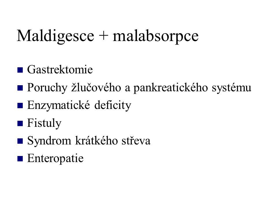 Maldigesce + malabsorpce Gastrektomie Poruchy žlučového a pankreatického systému Enzymatické deficity Fistuly Syndrom krátkého střeva Enteropatie