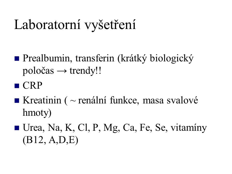 Laboratorní vyšetření Prealbumin, transferin (krátký biologický poločas → trendy!! CRP Kreatinin ( ~ renální funkce, masa svalové hmoty) Urea, Na, K,