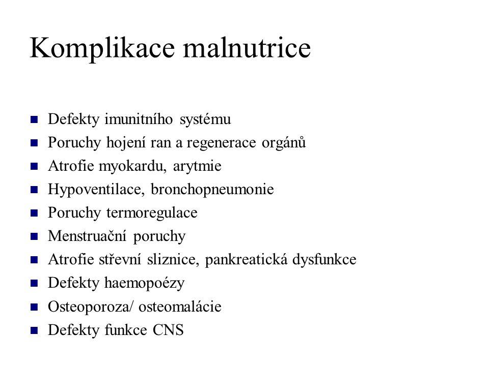 Komplikace malnutrice Defekty imunitního systému Poruchy hojení ran a regenerace orgánů Atrofie myokardu, arytmie Hypoventilace, bronchopneumonie Poru
