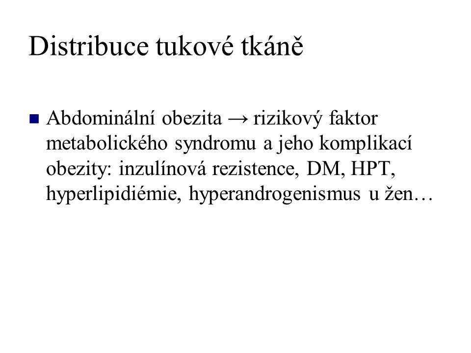 Distribuce tukové tkáně Abdominální obezita → rizikový faktor metabolického syndromu a jeho komplikací obezity: inzulínová rezistence, DM, HPT, hyperlipidiémie, hyperandrogenismus u žen…