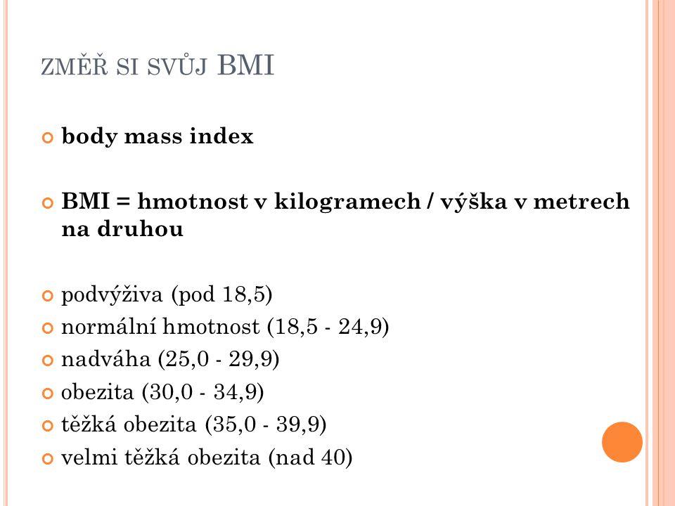 ZMĚŘ SI SVŮJ BMI body mass index BMI = hmotnost v kilogramech / výška v metrech na druhou podvýživa (pod 18,5) normální hmotnost (18,5 - 24,9) nadváha (25,0 - 29,9) obezita (30,0 - 34,9) těžká obezita (35,0 - 39,9) velmi těžká obezita (nad 40)