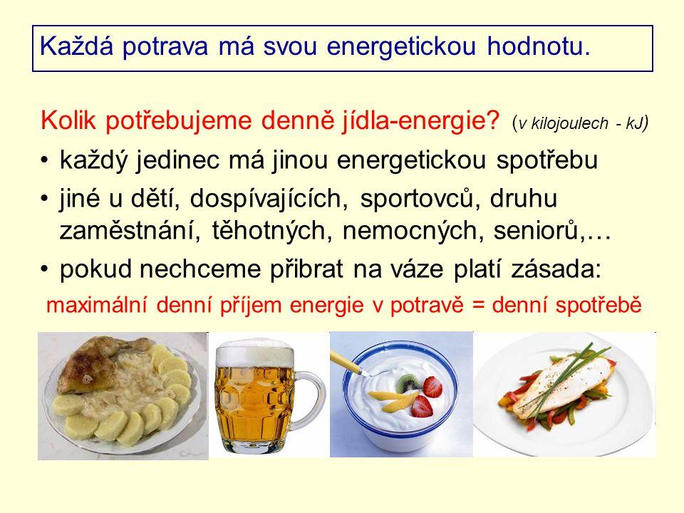 Každá potrava má svou energetickou hodnotu. každý jedinec má jinou energetickou spotřebu jiné u dětí, dospívajících, sportovců, druhu zaměstnání, těho