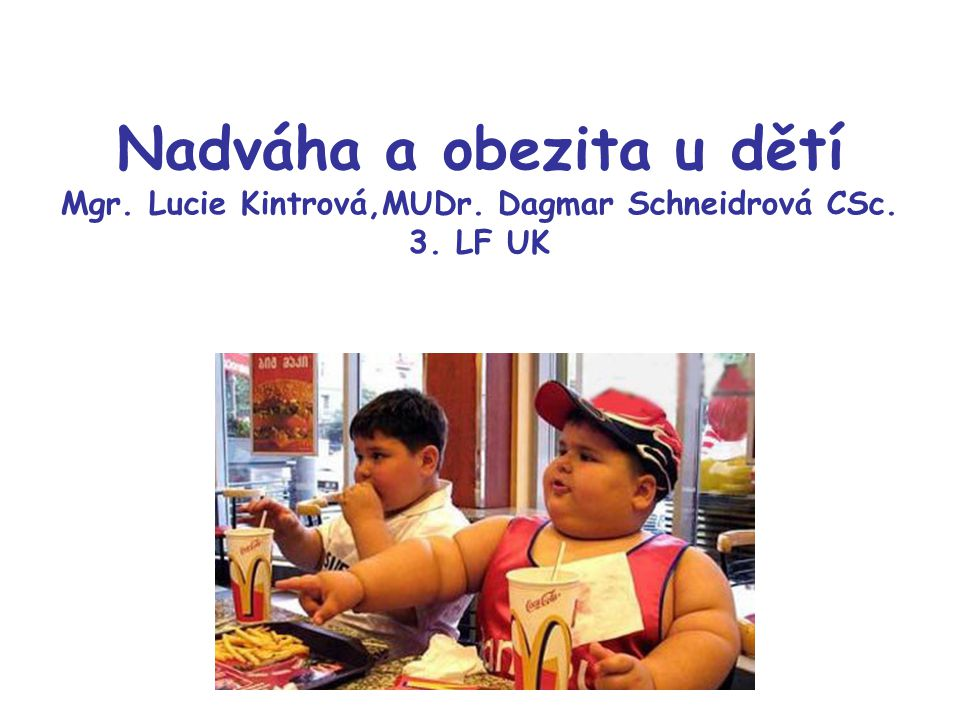 Nadváha a obezita u dětí Mgr. Lucie Kintrová,MUDr. Dagmar Schneidrová CSc. 3. LF UK