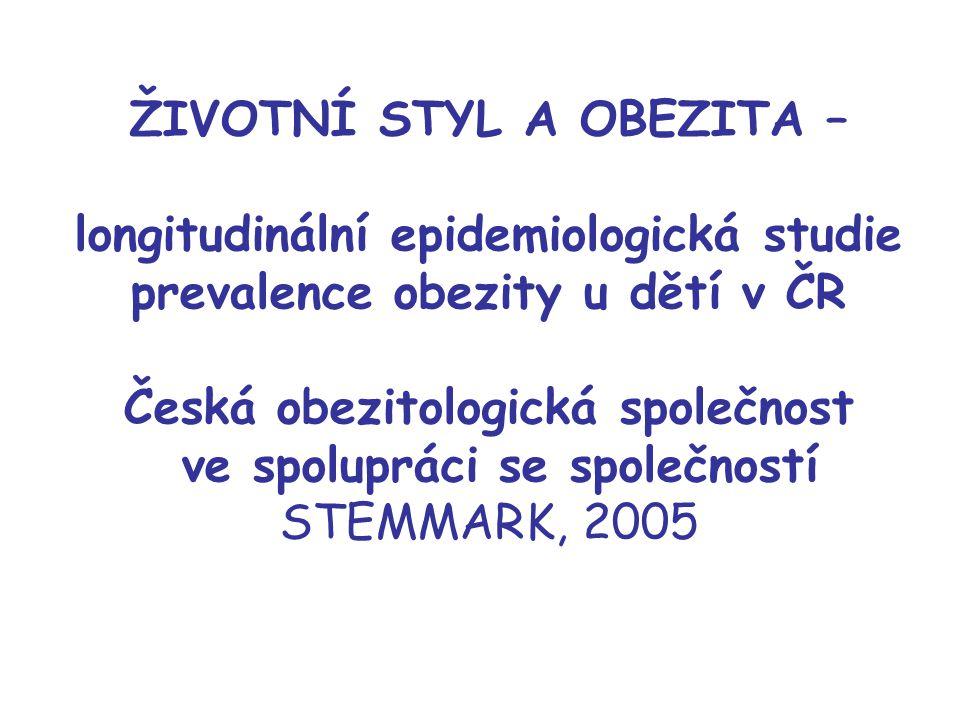 ŽIVOTNÍ STYL A OBEZITA – longitudinální epidemiologická studie prevalence obezity u dětí v ČR Česká obezitologická společnost ve spolupráci se společn