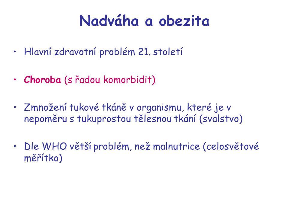 Nadváha a obezita Hlavní zdravotní problém 21. století Choroba (s řadou komorbidit) Zmnožení tukové tkáně v organismu, které je v nepoměru s tukuprost