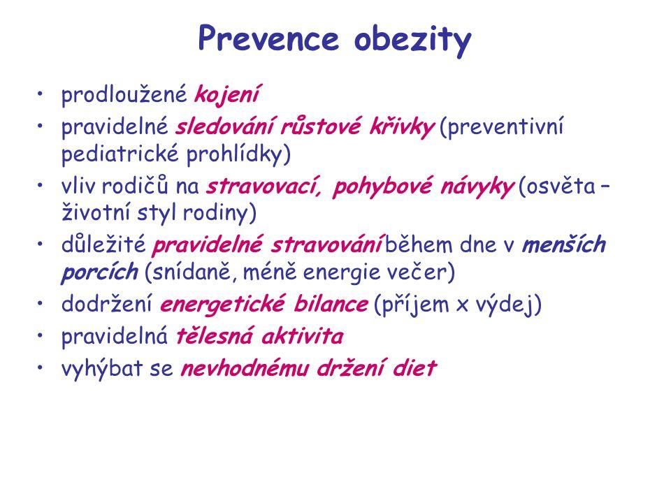 Prevence obezity prodloužené kojení pravidelné sledování růstové křivky (preventivní pediatrické prohlídky) vliv rodičů na stravovací, pohybové návyky