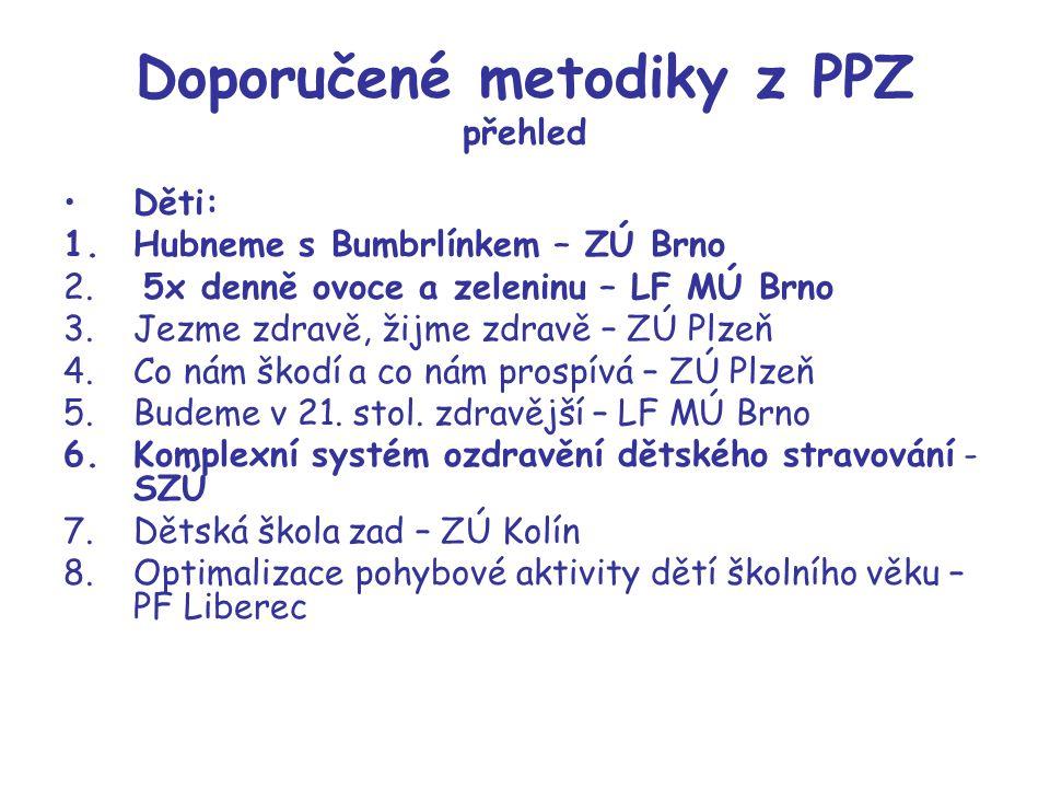 Doporučené metodiky z PPZ přehled Děti: 1.Hubneme s Bumbrlínkem – ZÚ Brno 2. 5x denně ovoce a zeleninu – LF MÚ Brno 3.Jezme zdravě, žijme zdravě – ZÚ