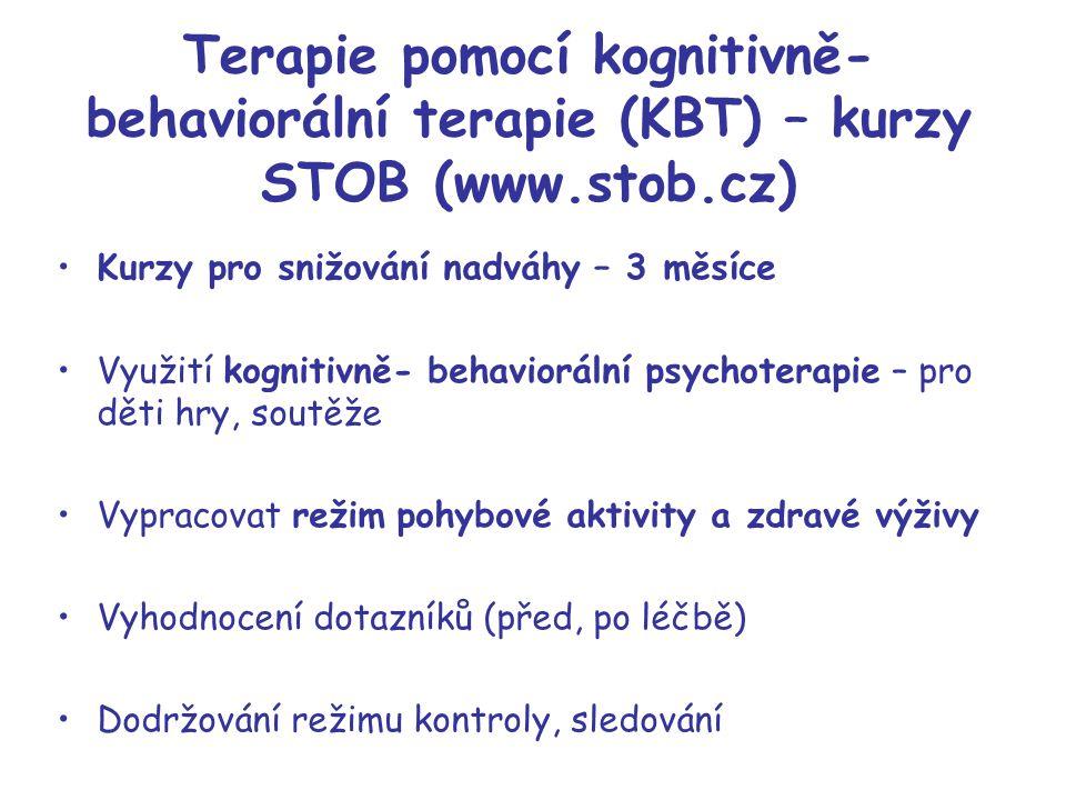 Terapie pomocí kognitivně- behaviorální terapie (KBT) – kurzy STOB (www.stob.cz) Kurzy pro snižování nadváhy – 3 měsíce Využití kognitivně- behaviorál