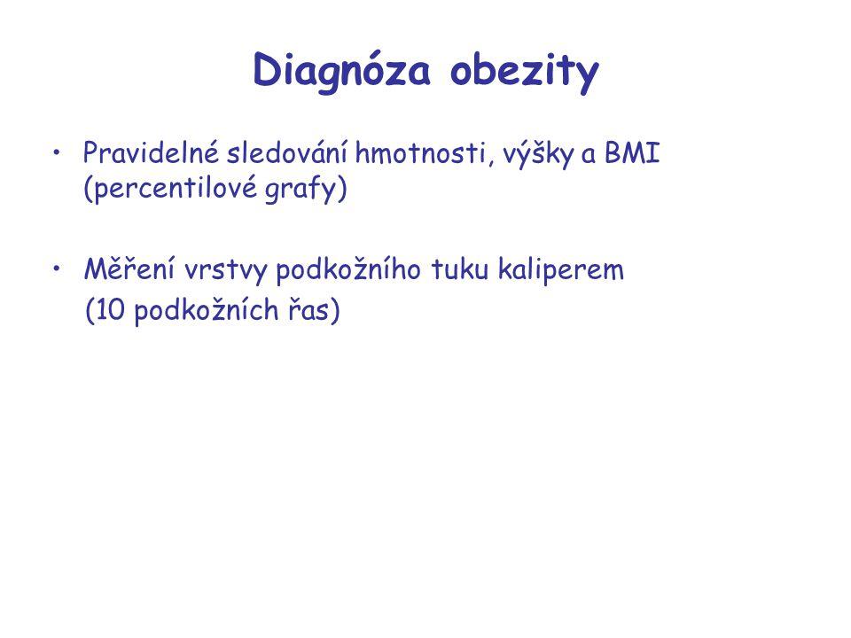 Diagnóza obezity Pravidelné sledování hmotnosti, výšky a BMI (percentilové grafy) Měření vrstvy podkožního tuku kaliperem (10 podkožních řas)