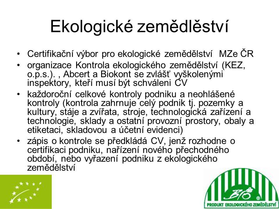 Ekologické zemědlěství Certifikační výbor pro ekologické zemědělství MZe ČR organizace Kontrola ekologického zemědělství (KEZ, o.p.s.)., Abcert a Biok