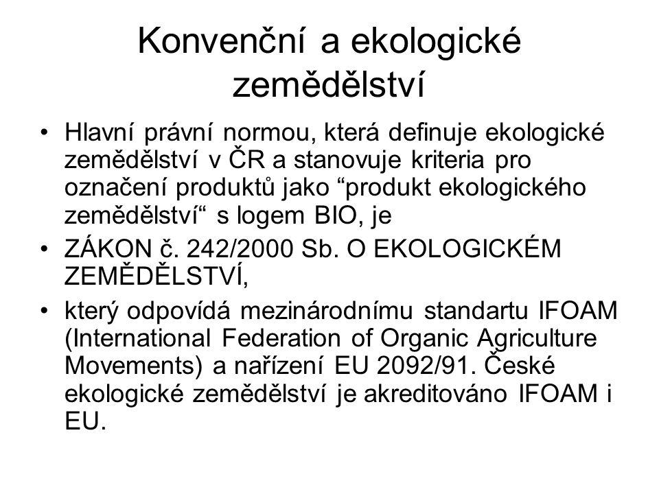 """Konvenční a ekologické zemědělství Hlavní právní normou, která definuje ekologické zemědělství v ČR a stanovuje kriteria pro označení produktů jako """"p"""
