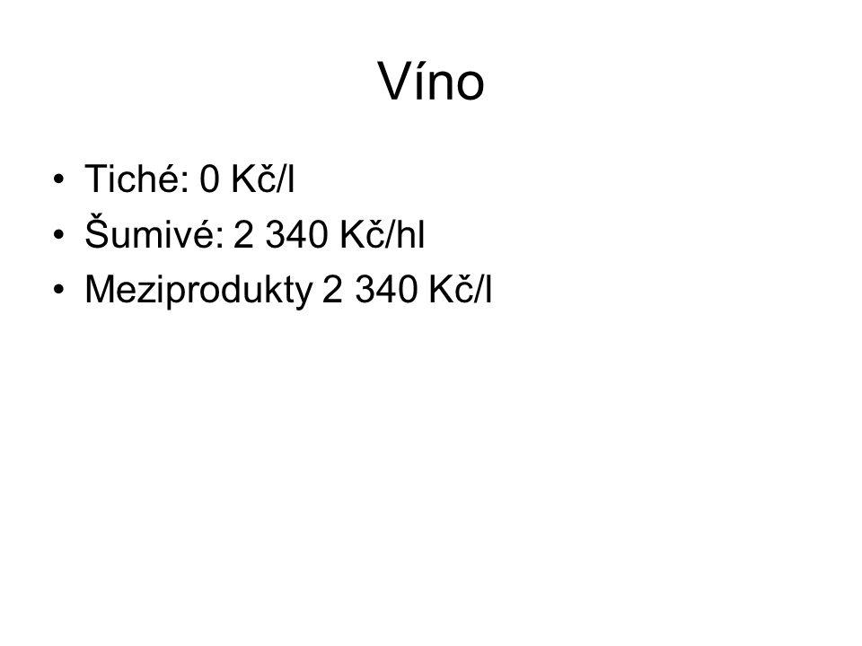 Víno Tiché: 0 Kč/l Šumivé: 2 340 Kč/hl Meziprodukty 2 340 Kč/l