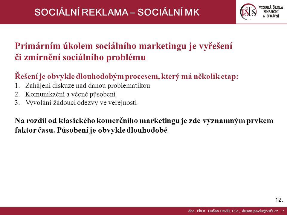 12. doc. PhDr. Dušan Pavlů, CSc., dusan.pavlu@vsfs.cz :: SOCIÁLNÍ REKLAMA – SOCIÁLNÍ MK Primárním úkolem sociálního marketingu je vyřešení či zmírnění