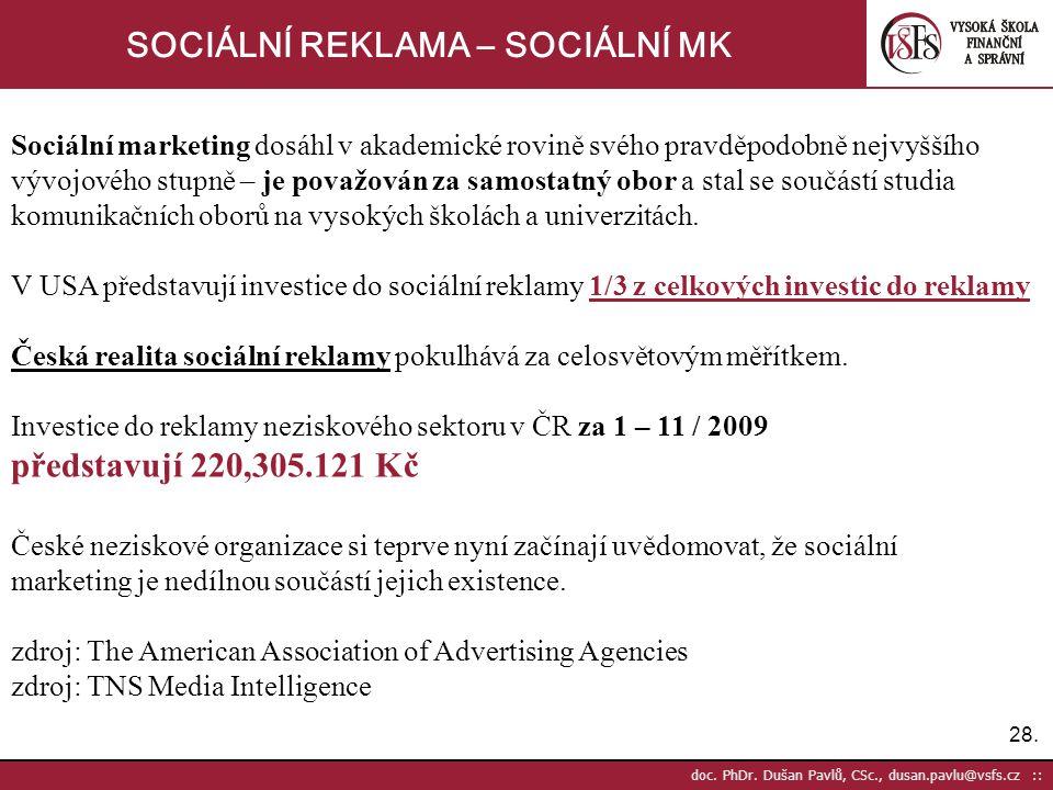 28. doc. PhDr. Dušan Pavlů, CSc., dusan.pavlu@vsfs.cz :: SOCIÁLNÍ REKLAMA – SOCIÁLNÍ MK Sociální marketing dosáhl v akademické rovině svého pravděpodo