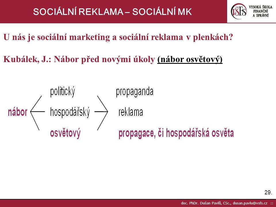 29. doc. PhDr. Dušan Pavlů, CSc., dusan.pavlu@vsfs.cz :: SOCIÁLNÍ REKLAMA – SOCIÁLNÍ MK U nás je sociální marketing a sociální reklama v plenkách? Kub