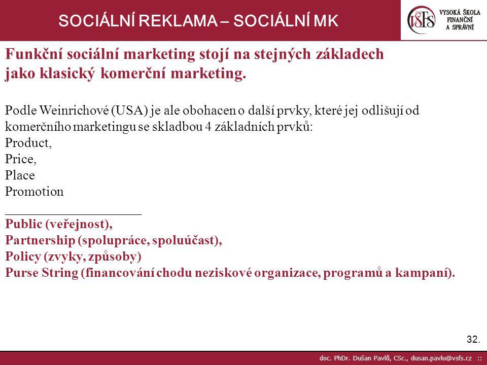 32. doc. PhDr. Dušan Pavlů, CSc., dusan.pavlu@vsfs.cz :: SOCIÁLNÍ REKLAMA – SOCIÁLNÍ MK Funkční sociální marketing stojí na stejných základech jako kl