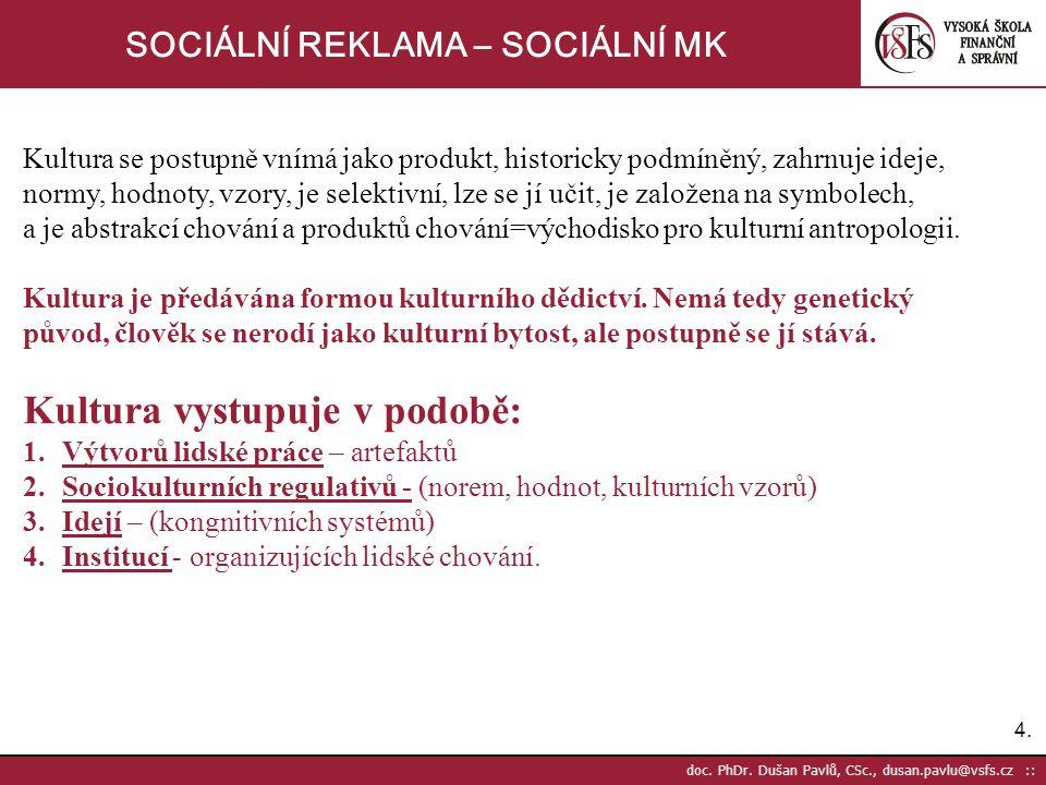 4.4. doc. PhDr. Dušan Pavlů, CSc., dusan.pavlu@vsfs.cz :: SOCIÁLNÍ REKLAMA – SOCIÁLNÍ MK Kultura se postupně vnímá jako produkt, historicky podmíněný,
